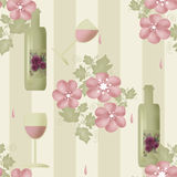 Seamless floral pattern with bottles of wine and glasses on stri Royalty Free Stock Photos