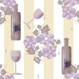 Seamless floral pattern with bottles of wine and glasses on stri Stock Photos