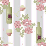 Seamless floral pattern with bottles of wine and glasses Royalty Free Stock Photo