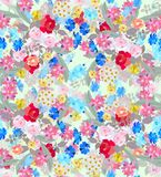 Seamless floral pattern with bouquets of gardening flowers. For sundress Royalty Free Stock Photo