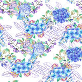 A seamless floral pattern with the bouquets of Hydrangea flowers, blue roses and leaves. A seamless floral pattern with the bouquets of blue Hydrangea flowers vector illustration