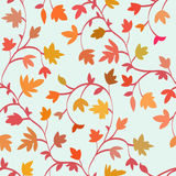 Seamless floral pattern with branches and leaves in autumn style, abstract texture, endless background. Vector Royalty Free Stock Photos