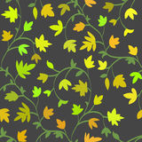 Seamless floral pattern with branches and leaves in autumn style, abstract texture, endless background. Vector Stock Photos