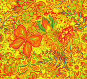 Seamless floral pattern on bright background with colorful fantasy hand draw flowers. Vector illustration. Seamless floral pattern on bright background with vector illustration