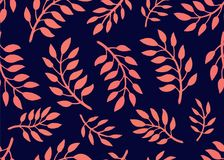 Seamless Floral Pattern. Bright pattern with branches in coral and navy colors. Floral seamless background for textile. Fabric, covers, manufacturing Stock Photos