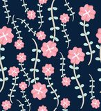 Seamless floral pattern with bright colorful flower. wild blossom,Wide vintage seamless background pattern Royalty Free Stock Photo