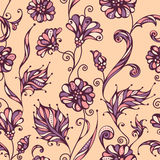 Seamless floral pattern. Bright ornate background of flowers and leaves. Outlines, background and coloured elements are on separate layers Royalty Free Stock Photography