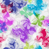Seamless floral pattern with butterflies Stock Photo