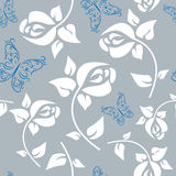 Seamless floral pattern with butterflies Stock Photography