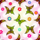 Seamless floral pattern with butterflies Stock Images