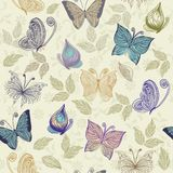 Seamless floral pattern with butterflies and flowe. Seamless retro floral background with butterflies Stock Photography