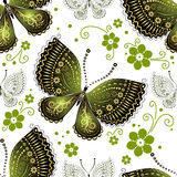 Seamless floral pattern with butterflies Royalty Free Stock Photography