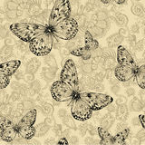 Seamless floral pattern with butterflies, hand-drawing. Vector i Royalty Free Stock Photo