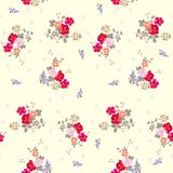 Seamless floral pattern with butterflies on light yellow background.  royalty free illustration