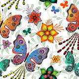 Seamless floral pattern with butterflies (vector) Stock Images