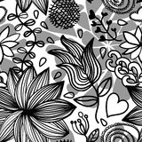 Seamless floral pattern bw Stock Photo