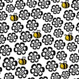 Seamless floral pattern with cartoon bee. Royalty Free Stock Photo