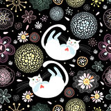 Seamless floral pattern with cats stock images