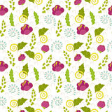 Seamless floral pattern for children. Bright seamless floral pattern in pink, blue, green and yellow colors Royalty Free Stock Images