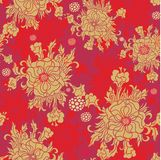 Seamless  floral  pattern with chinese roses Royalty Free Stock Image