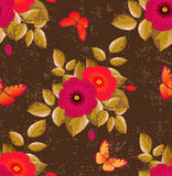 Seamless floral pattern - chocolate color. Seamless floral pattern with batterflies. Vector illustration royalty free illustration