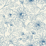 Seamless floral pattern with chrysanthemums Royalty Free Stock Photos