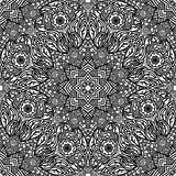 Seamless floral pattern of circular ornaments. Black and white monochrome ornament of mandalas in zentangle style. Royalty Free Stock Photos