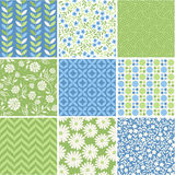 Seamless floral pattern collection Stock Photo