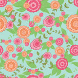 Seamless floral pattern. Colored hand drawn vector template Royalty Free Stock Photography