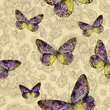 Seamless floral pattern with colorful butterflies, hand-drawing. Royalty Free Stock Photo