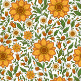 Seamless  floral pattern with colorful fantasy plants and Royalty Free Stock Photography
