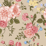 Seamless floral pattern with colorful flowers. stock illustration