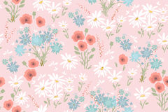 Seamless floral pattern with colorful flowers, vector  Royalty Free Stock Photography