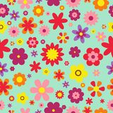Seamless floral pattern. Colorful Flowers texture. Flowers flat style. Vector Illustration Stock Images
