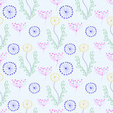 Seamless  floral pattern. Colorful hand drawn background with different flowers and leaves Royalty Free Stock Photos