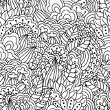 Seamless floral pattern for coloring book. Royalty Free Stock Photo