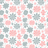 Seamless floral pattern of the colors pink and. Blue on a white background stock illustration
