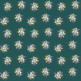 Seamless floral pattern composition small field flowers twigs berries leaves on green blueish background, fabric, tapestry, wallpa. Per design Royalty Free Stock Photography