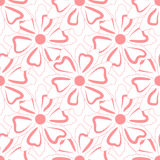 Seamless floral pattern. Contours of simple abstract flower. Royalty Free Stock Photography