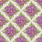 Seamless floral pattern with crocus vector illustration