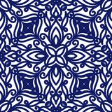 Seamless floral pattern of curls. Blue and white background. Geometric swirl ornament. Graphic modern pattern. Vector illustration Stock Photography