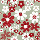 Seamless floral pattern with cute cartoon flowers background Royalty Free Stock Photos