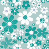 Seamless floral pattern with cute cartoon flowers background Stock Photo