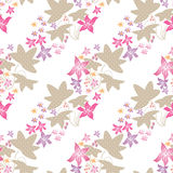 Seamless floral pattern with cute cartoon flowers background Stock Photos