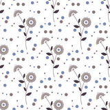 Seamless floral pattern with cute cartoon flowers background Stock Photography