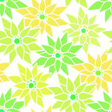 Seamless floral pattern with cute cartoon green neon flowers bac Stock Photos