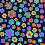 Seamless floral pattern with cute flowers Stock Images