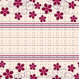 Seamless floral pattern ,cute flowers on beige background, striped, Royalty Free Stock Photos