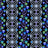 Seamless floral pattern ,cute flowers on black background, striped, Royalty Free Stock Photography