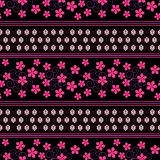 Seamless floral pattern ,cute flowers on black background, striped, Stock Photo